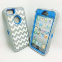 DELUXE Chevron Wave Hybrid Rubber Silicone Cover Case For iPhone 5 5S, Chevron Wave Print Hard Soft High Impact Hybrid Armor Case Combo for iPhone 5 5S, Hybrid 3 PIECE ZEBRA HARD PROTECT CASE COVER SKIN FOR iPhone 5 5S (Pink+White)