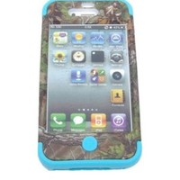 XYUN Triple Layer Hybrid Real Tree Camo Hybrid Hard Case Cover for Iphone 4 4g 4s (BLUE)