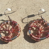 Pair of Wire Wrapped Tree of Life Earrings