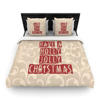 "Sylvia Cook ""Have A Holly Jolly Christmas"" Holiday Woven Duvet Cover"