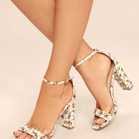 Sirona White and Brown Floral Print Ankle Strap Heels