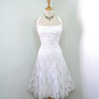 Vintage Lace wedding dress Sweetheart White Lace Embroidered Halter Dress Full skirt pin-up Medium