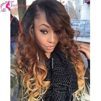 Two Tone ombre Black Highlight Blonde Full Lace Human Hair Wigs Straight/Brazilian Lace Front Wig