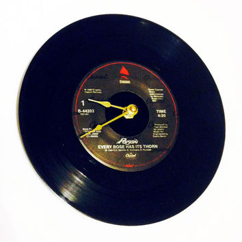 Record Clock, Vinyl Record Clock, Wall Clock, Poison Record, Recycled Record, Upcycle, Battery & Wall Hanger included, Item #36