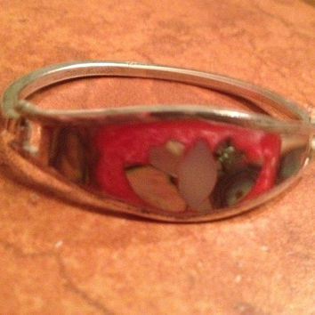 Vintage Alpaca Silver Bracelet Coral Abalone Inlay Mexican Jewelry