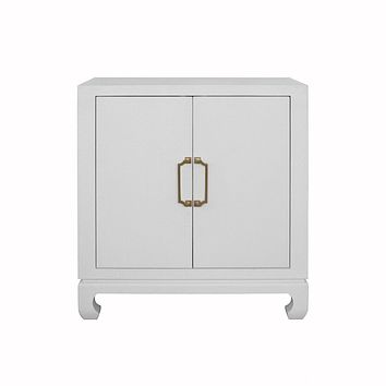 Renwick White Grasscloth Chest by Worlds Away