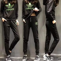 """Adidas"" Women Casual Clover Letter Embroidery Long Sleeve Hooded Trousers Set Two-Piece Sportswear"