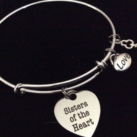 Sisters of the Heart Expandable Silver Charm Bracelet Best Friend Bangle Gift