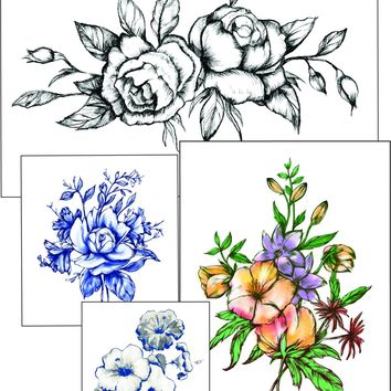 Bohemian Watercolor Flower LARGE Temporary Tattoo Set