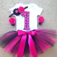 Hot Pink and Black Baby Girl 1st Birthday Outfit - SALE on Complete Set Includes: Tutu, Headband, Barefoot Sandals and Iron-On - Biker Babe