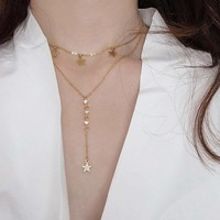 Star Charm Lariats Layered Necklace