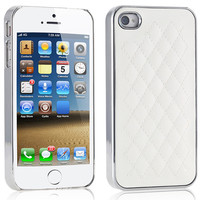 Fashion! !High Quality PU Leather Case for iPhone 4 4S 4G / 5 5S 5G Soft Grid Pattern Back Skin  Luxury Elegant Cover SGS ac259