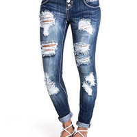 Distructed Rolled Cuff Flap Pockets Skinny Jean by Almost Famous