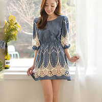 Blue Crochet Lace Half Sleeve Shirtwaist A-Line Denim Mini Dress