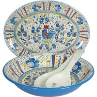 Le Cadeaux Rooster Blue Melamine 4 Piece Serving Set