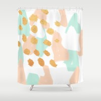 Peachy Golden Abstract Shower Curtain by Allyson Johnson | Society6