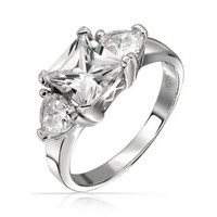Bling Jewelry Sterling Silver Three Stone Princess Cut CZ Heart Anniversary Engagement Ring