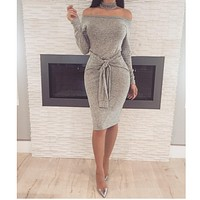 Autumn outfit sexy waist bandage collar word dress women's dress Light grey