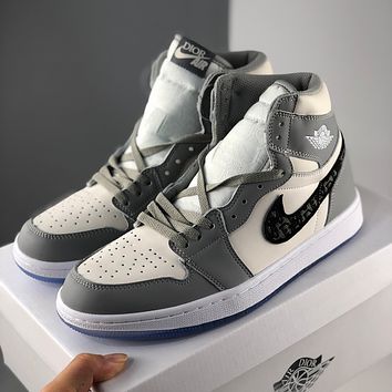 Nike Dior Air Force 1 printed flat-bottomed casual sports high-tops for men and women