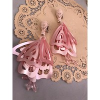 Huge Pink or Golden Butterfly Wing Bouquet Earrings