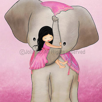 """Kids room art, girl on elephant, pink , from 7""""x9"""" up to 12""""x15"""""""