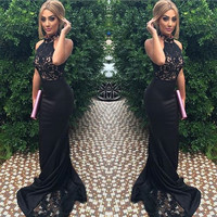 Amazing Black Lace Halter Mermaid Prom Dresses Long 2017 Chic Backless Satin Evening Party Gowns Vestido De Festa Custom Made