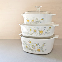Corning Ware Floral Bouquet Casserole Dishes Set of 3, Yellow Flowers, 1.5, 2, and 3 Quarts