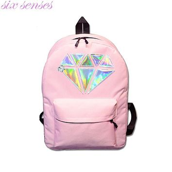 Six senses Women Canvas Backpack School Bag Holographic Silver Diamond Solid Girls Female Laptop Sale waterproof Mochila XD3775