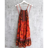 Free People Casablanca Halter Slip Dress In Red Light Combo