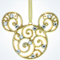 Disney Parks Mickey Scroll Gold Filigree Christmas Ornament New With Tags