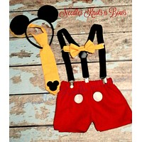 Boys Mickey Mouse Cake Smash Set, Boys 1st Mickey Mouse Birthday Cake Smash Outfit