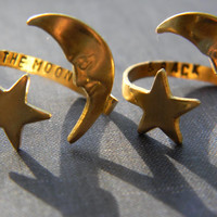 to the moon and back set of two brass moon star swirl version style rings