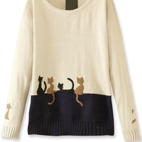 Whimsical Cat Colorblock Sweater - OASAP.com