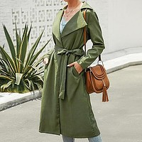 Feminine Trench Coats Long Coats Women Green Sashes Harajuku Trench Female Trend Ladies Outwears