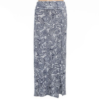 Full Tilt Paisley Print Girls Side Slit Maxi Skirt Blue Combo  In Sizes