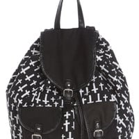 Black White Cross Cinch Slouch Backpack | Hot Topic