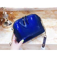 LV hot selling lady's casual shopping fashionable reflective patent-leather shell shoulder bag Blue