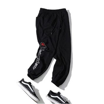 Champion 2018 autumn and winter models for men and women sports and leisure beam pants F-A-KSFZ black