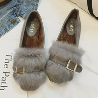 Grey Round Toe Flat Faux Fur Patchwork Sweet Shoes
