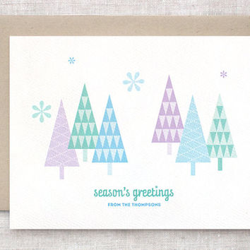 Custom Christmas Cards Set of 10 - Season's Greetings Geometric Trees, Personalized Christmas Cards, Family Christmas Cards