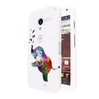 Fincibo (TM) Protector Cover Case Snap On Hard Plastic Front And Back For Motorola Moto X Phone XT1058 - Colorful Elephant