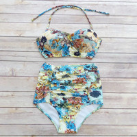 Floral Bustier Bikini - Vintage Style High Waisted Pin-up Swimwear - Amazing Summer Sunflower Rose Print - Unique & So Cute!