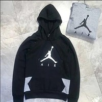 Nike Jordan Fashion Print Sport Casual Pullover Hoodie Top Sweater Black I-A-XYCL