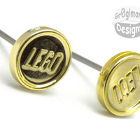 Golden Money Coin Stud Earrings :) made with LEGO bricks