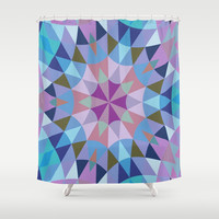 Lavender Retro Geometry Shower Curtain by 2sweet4words Designs