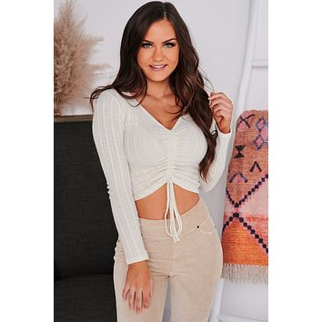 Must Be Love Ruched Long Sleeve Crop Top (Ivory)