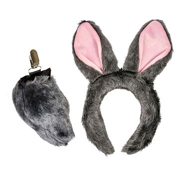 Plush Gray Rabbit Ears Headband and Tail Set for Bunny Costume, Cosplay or Forest Animal Costumes