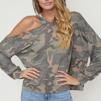 One Shoulder Hooded Camo Top - Olive  ONLY 1 M LEFT