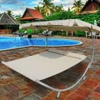 Cream Swimming Pool Sun Lounger Double Hammock Bed Chaise Lounge Patio Outdoor Lounge with Wheels Canopy