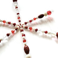 Decoration Christmas beaded star home décor Snowflake  Red White Crystal